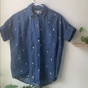 Madewell denim floral embroidered shirt xs NWT